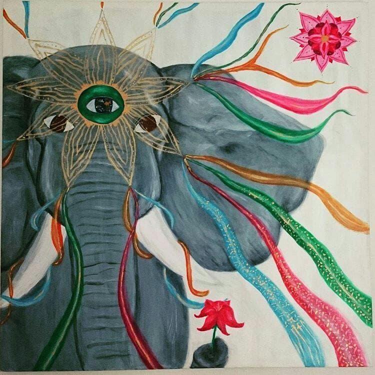 Kraftbild Elefant Krafttier Acryl Portrait