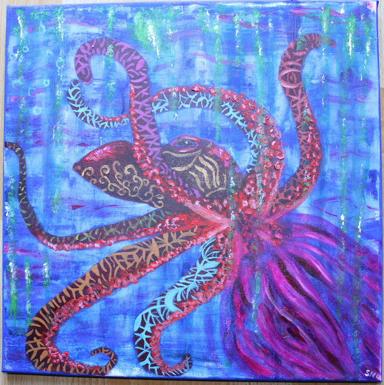 Krafttier Tintenfisch Oktopus Krake Acrylbild