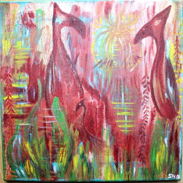 Krafttier Paradiesvogel Kraftbild Acryl Gemälde