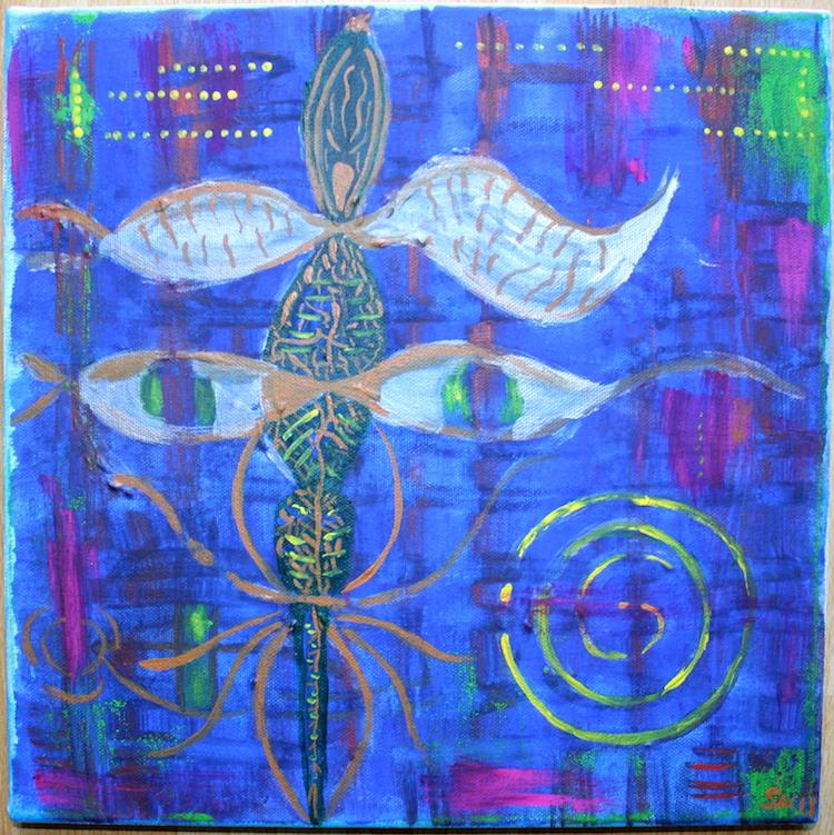 Krafttier Libelle Acryl Gemälde