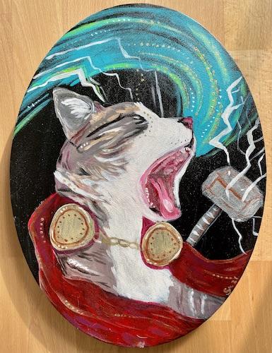 Thor Donnergott Superheld Katze Portrait
