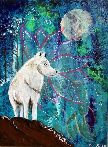 Weißer Wolf Krafttierbild