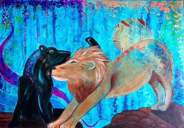 Krafttier auf Leinwand Panther Löwe