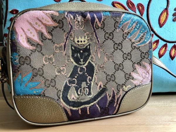 Gucci Tasche Stofftasche bemalt Katze Katzenportrait
