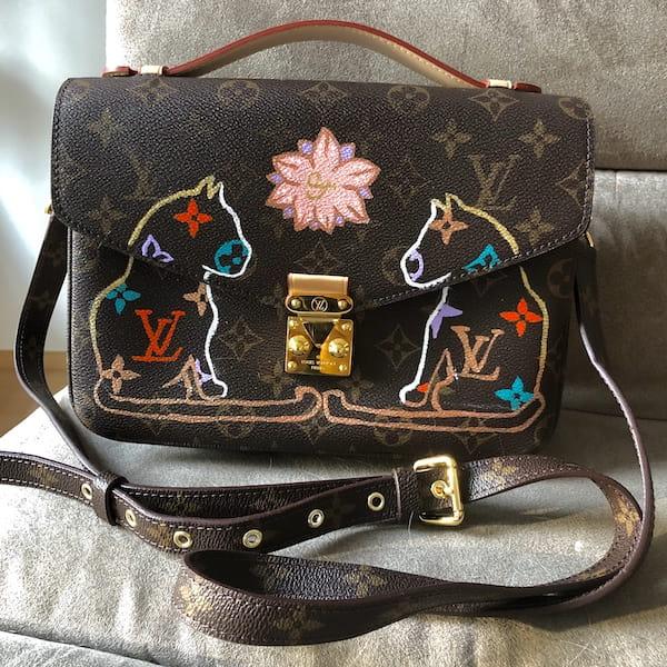 Katze Upcycling bemalte Tasche Louis Vuitton